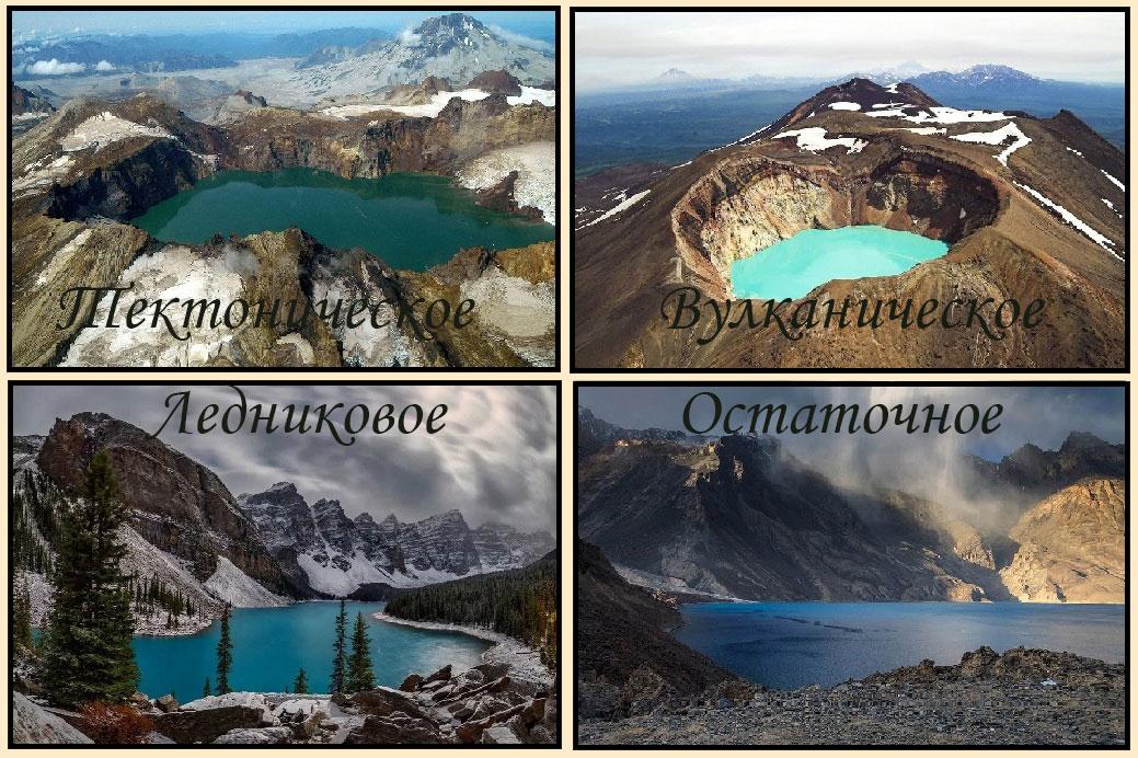 Виды озер по их происхождению